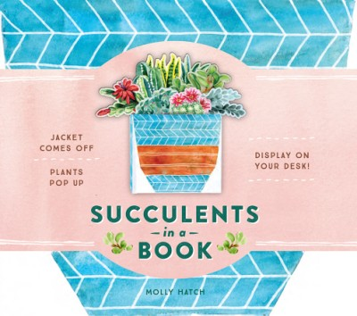 Succulents in a Book (UpLifting Editions) Jacket Comes Off. Plants Pop Up. Display on Your Desk!