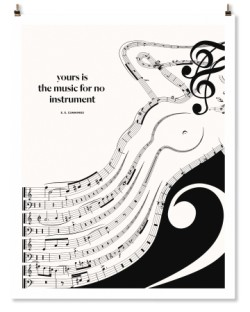 "e e cummings ""Music"" Print"